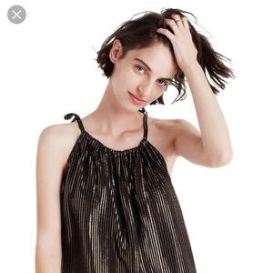 Madewell Black Gold Shimmer Tie Tank Size 8